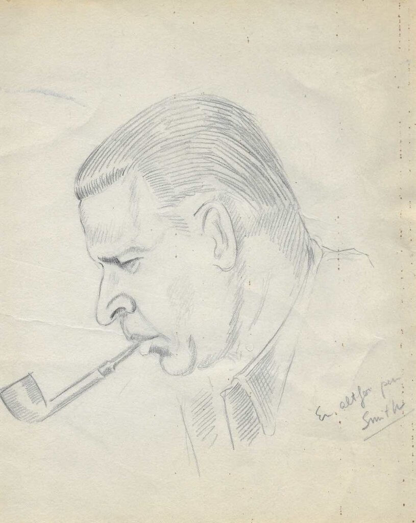 Vintage drawing of Eilert Smith smoking a pipe