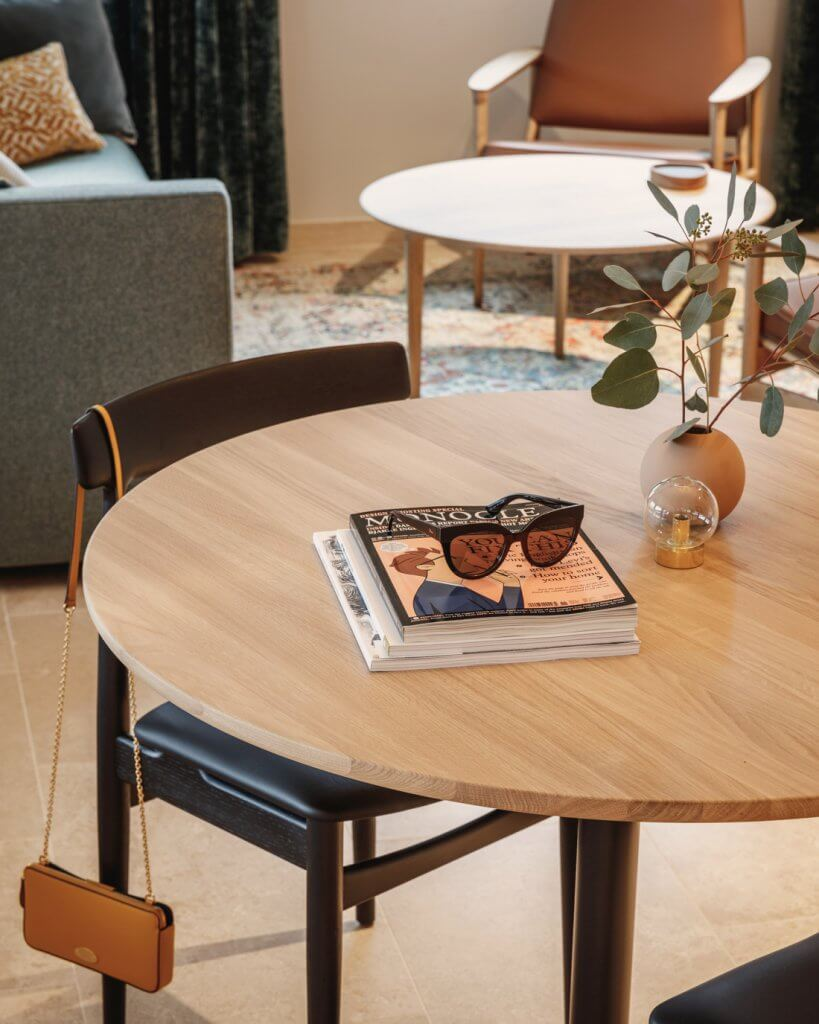 Eilert Smith Hotel superior suite dining table and sunglasses