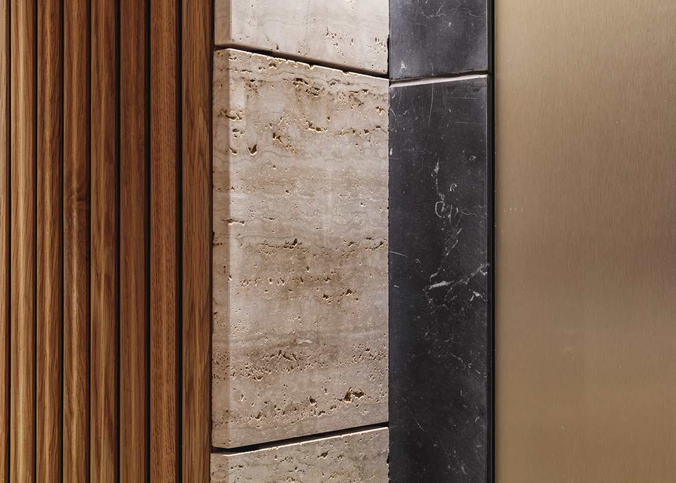 Eilert Smith Hotel wood panel, travertine and brass details